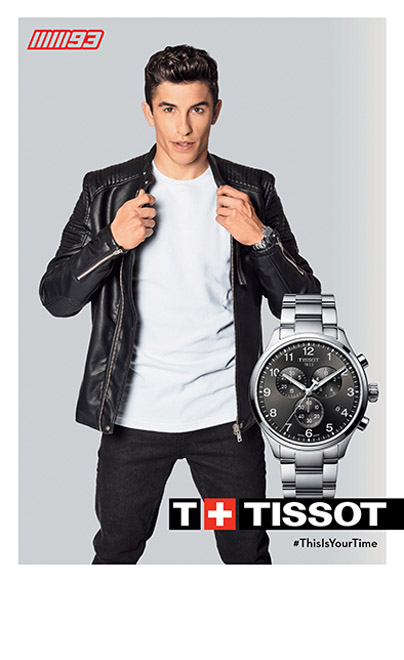 Man in a leather jacket wearing a Tissot watch