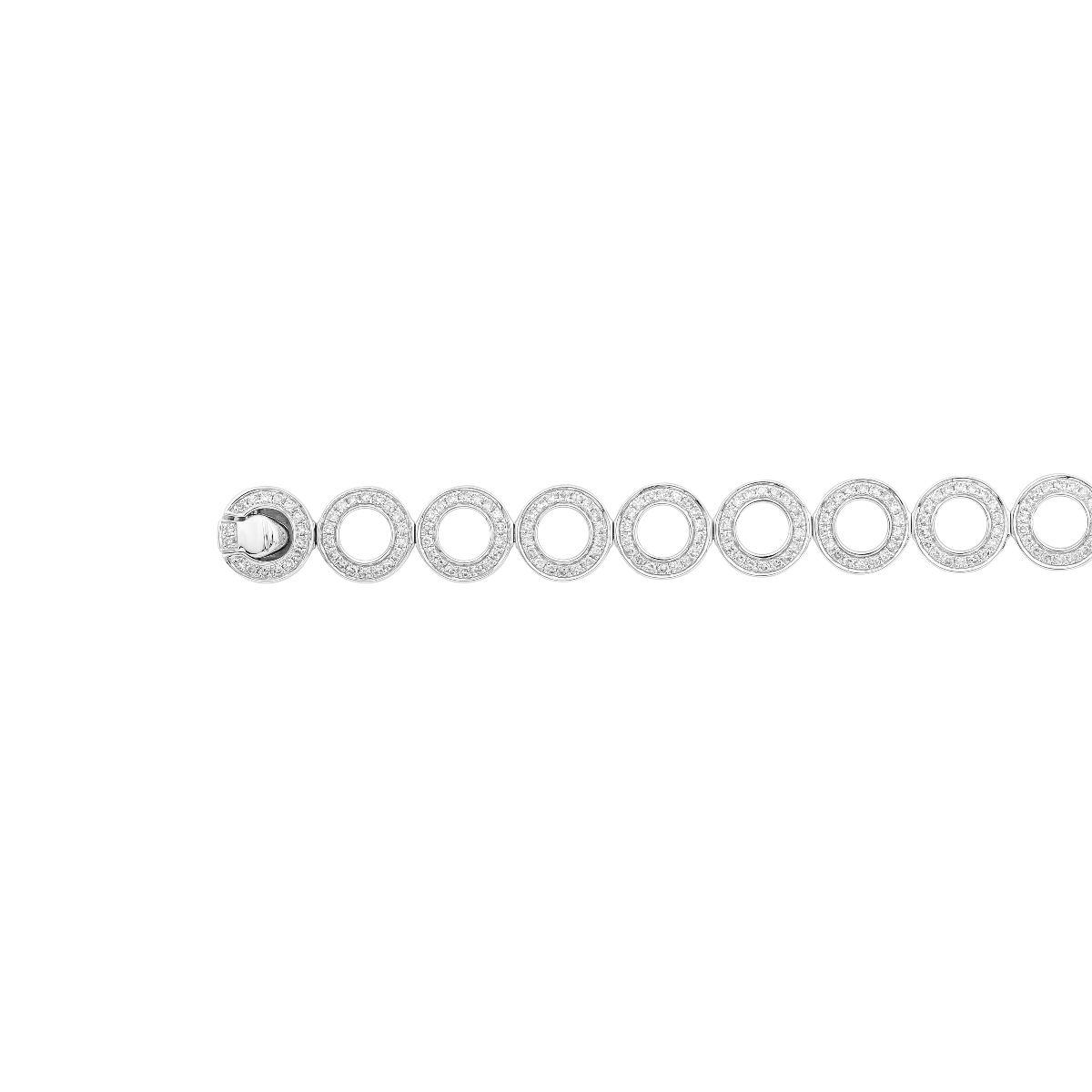 Open Circle Bracelet with 1.00ct of Diamonds in 9ct White Gold