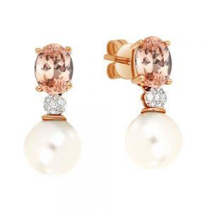 9ct Rose Gold Pearl & Morganite Earrings with Diamonds
