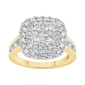 9ct Yellow Gold 2 Carat Diamond Ring with Brilliant Cut Diamonds