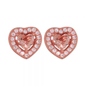 Sterling Silver Rose Plated Zirconia Heart Studs