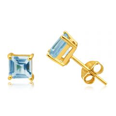9ct Yellow Gold Princess Cut 5mm Blue Topaz Stud Earrings