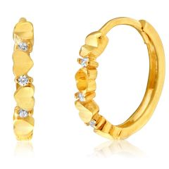 9ct Yellow Gold Diamond Cut Cubic Zirconia Hoops