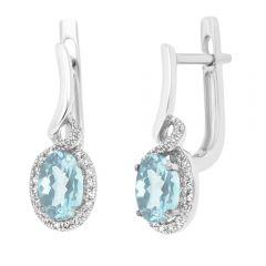 9ct White Gold Aquamarine & Diamond Drop Earrings
