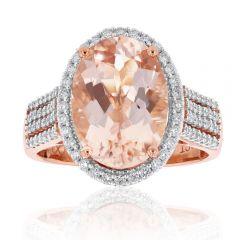 5.20ct Morganite & Diamond Ring in 18ct Rose Gold
