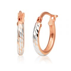 9ct Rose Gold Silver Filled 2x10mm Hoop Earrings