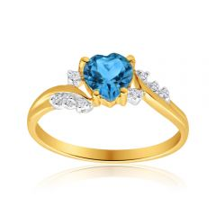 9ct Yellow Gold Heart Blue Topaz + 8 Diamond Ring