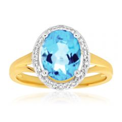 9ct Yellow Gold 'Jasmina' Oval Blue Topaz &  14 Diamond Ring