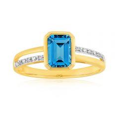 9ct Yellow Gold Blue Topaz + 6 Diamond Ring
