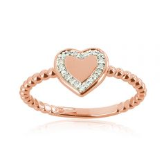 9ct Rose Gold Diamond Heart Signet Ring with 20 Brilliant Diamonds