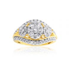 9ct Yellow Gold 1 Carat Diamond Cluster Ring