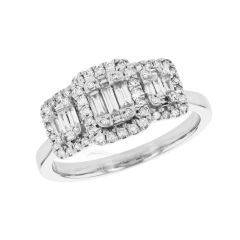 Diamond Baguette Trilogy Ring in 9ct White Gold