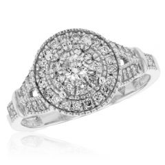 Halo Ring with 0.50ct of Diamonds in 9ct White Gold