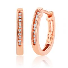 9ct Rose Gold Hoop Earrings with 20 Brilliant Diamonds