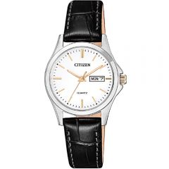 Citizen EQ059911A Black Leather Band Womens Watch