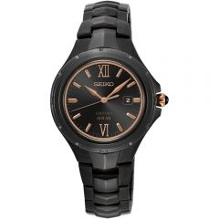 Seiko Coutura  SUT378P Stainless Steel Black And Rose Solar Ladies Watch