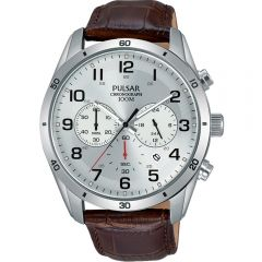 Pulsar Chronograph PT3817X Brown Leather Mens Watch
