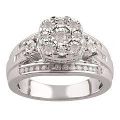 Silver 1/2 Carat Diamond Dress Ring with 49 Diamonds