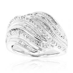 Sterling Silver 1/4 Carat Diamond Ring with Round Brilliant Cut and Baguette Diamonds