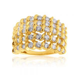 10ct Yellow Gold 2 Carat 5 Row Diamond Ring