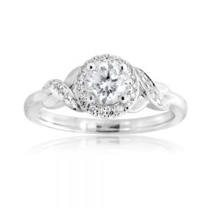 18ct White Gold 0.60 Carat Diamond Solitaire Ring with 0.50 Carat Centre Diamond
