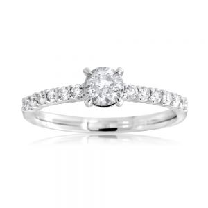 18ct White Gold 0.80 Carat Diamond Solitaire Ring with 0.50 Carat Centre Diamond