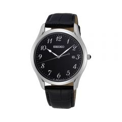 Seiko SUR305P Stainless Steel Black Leather Mens Watch