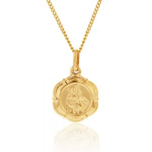 9ct Yellow Gold Saint Christopher Pendant 6 sided