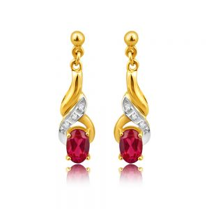 9ct Alluring Yellow Gold Created Ruby + Diamond Drop Earrings