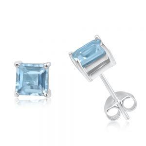9ct White Gold 5mm Princess Cut Blue Topaz Stud Earrings