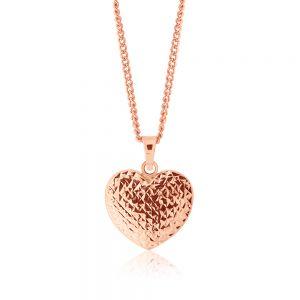 9ct Rose Gold Scroll Heart Pendant