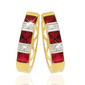 9ct Yellow Gold Created Ruby + Diamond Hoop Earrings