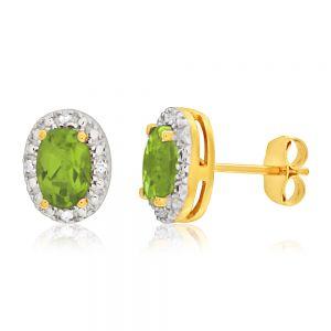9ct Yellow Gold & White Gold Diamond + Peridot Stud Earrings