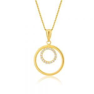 9ct Yellow Gold Double Circle Zirconia Pendant