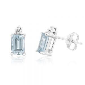 9ct White Gold Aquamarine Emerald Cut and Diamond Stud Earrings