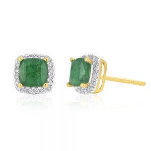 9ct Yellow Gold Natural Emerald 5mm Cushion Cut Diamond Halo Stud Earrings