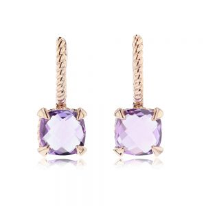 Amethyst Drop Earrings in 14ct Rose Gold
