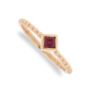Rhodolite 0.18ct Solitaire droplet Stack Ring in 9ct Rose Gold