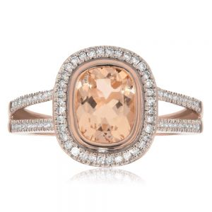 Morganite 1.32ct Cushion & Diamond Ring in 9ct Rose Gold