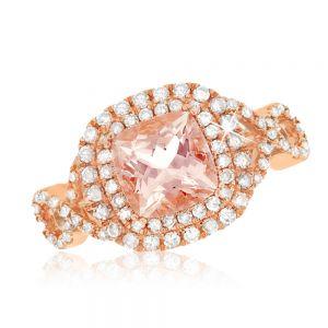 Morganite & Diamond Ring in 9ct Rose Gold