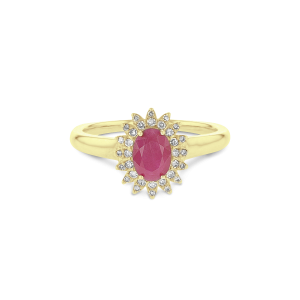 Ruby & Diamond Royal Cluster Ring in 9ct Gold