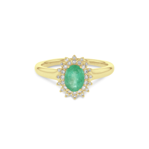 Emerald & Diamond 0.13ct Royal Lady Cluster Ring in 9ct Gold