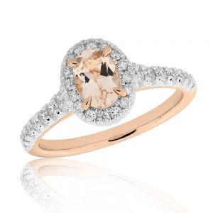 Morganite & 0.50ct Diamond Halo Ring in 9ct Rose Gold