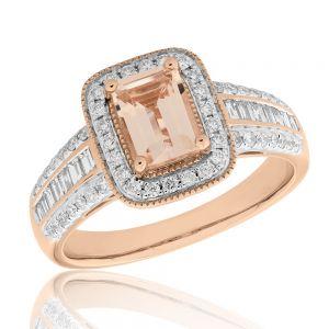 Morganite & 0.50ct Diamond Ring in 9ct Rose Gold