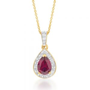 9ct Yellow Gold 7x5mm Created Ruby and Diamond Pear Halo Pendant on 45cm Chain