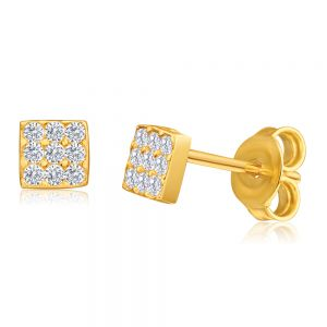 9ct Yellow Gold Silver Filled Cubic Zirconia Square Shape Stud Earrings