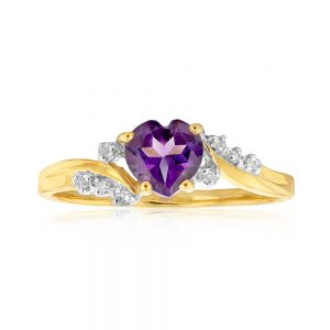 9ct Yellow Gold Amethyst Heart with 8 Diamond Ring