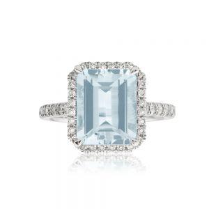 9ct White Gold Aquamarine 2.40ct + Diamond 0.36ct Ring
