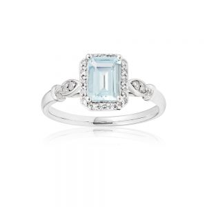 9ct White Gold Aquamarine 7x5mm Emerald Cut + Diamond Ring