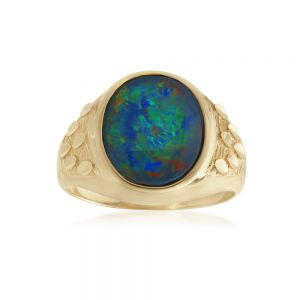 9ct Yellow Gold Triplet Opal Gents Ring
